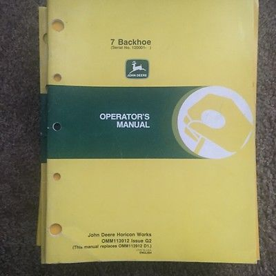 john deere operators manual 7 backhoe