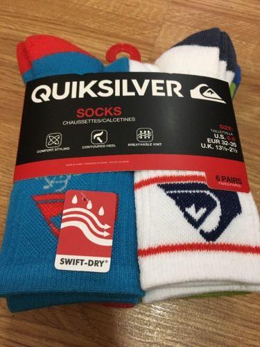 Quiksilver Boy's 6 Pairs Crew Socks Shoe Size 10.5-4 Multi-color