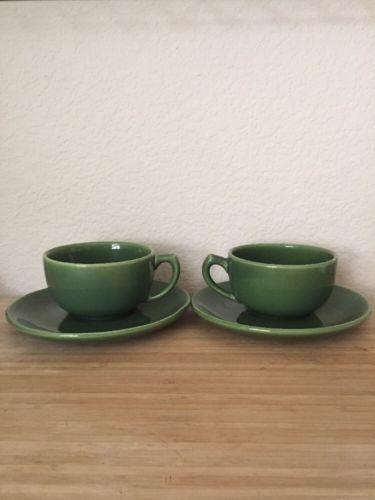 Bauer Pottery Vintage Tea Cup Saucer Set Of 2  La Linda Moderne Olive Green