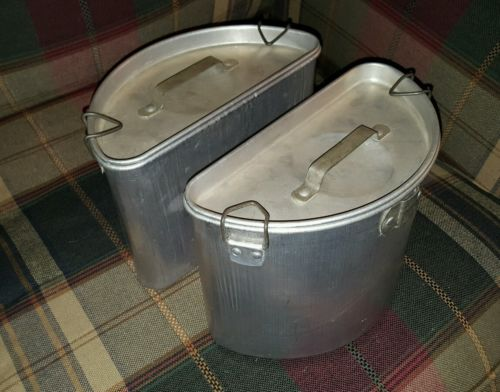 Chambers Fireless Gas Range Aluminum Container & Lid set of 2 Great Used Cond.