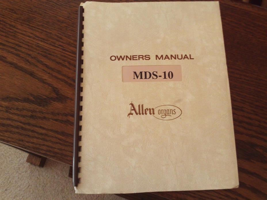 Allen MDS-10 Organ Owner's Manual