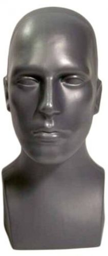 15 Tall Male Mannequin Head Durable Plastic Grey (50013)