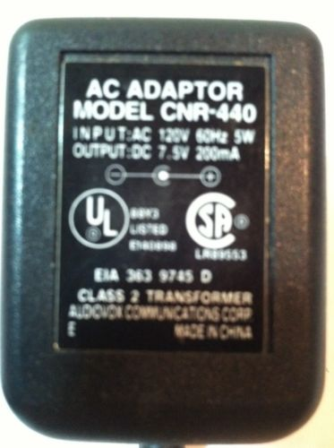 Genuine Audiovox AC Adapter Power Supply CNR-440 DC 7.5V 200mA Class 2