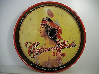 RARE VINTAGE LEINENKUGELS CHIPPEWA PRIDE BEER TRAY METAL TIN CHIPPEWA FALLS, WI
