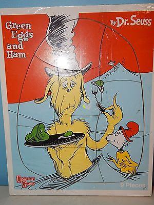 University Game Wooden Puzzle - Dr. Seuss Green Eggs and Ham 9 Pieces