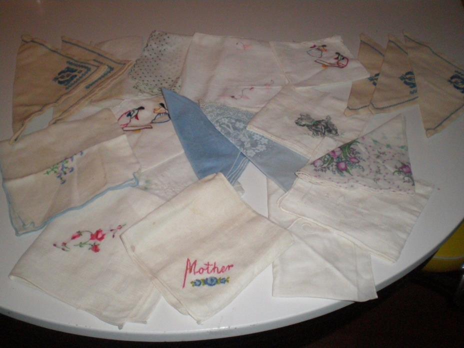 16 vintage ladies hankerchiefs
