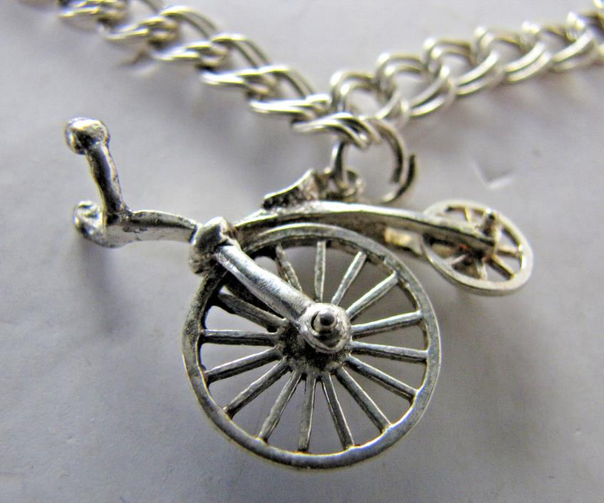 Vintage Sterling Silver Charm Bracelet w/ BIG Antique High Wheel Bicycle