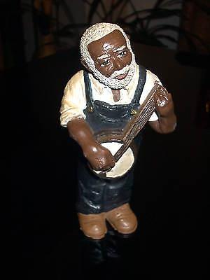 Black Americana Resin Figure Man Playing Banjo