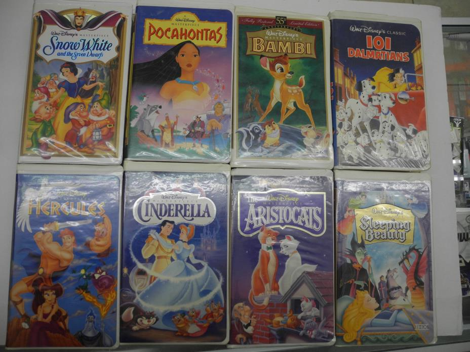 Disney VHS Movie lot of 8 Cinderella Sleeping Beauty The Aristocats Hercules