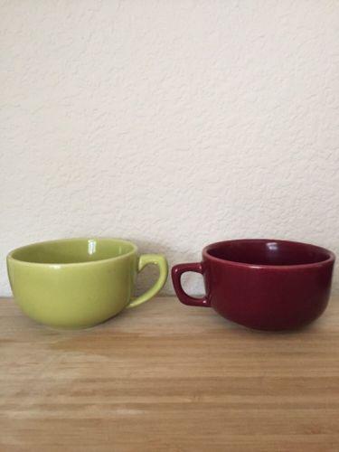 Bauer Pottery Vintage Tea Cup Set Of 2  La Linda Moderne Olive Green Chartreuse