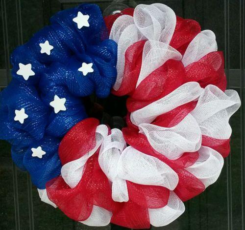American Flag Wreath, USA, Patriotic, Memorial Day July 4th Deco MeshDoor Wreath