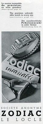 Vintage 1936 Zodiac Watch Company Original 1930's Swiss Ad Advert Switzerland