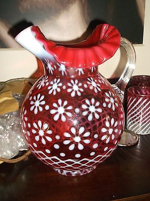 Fenton Opalescent Cranberry Christmas Snowflake pitcher