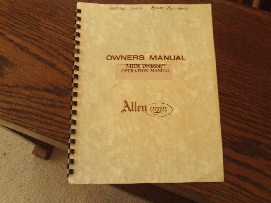 Allen Organ MIDI Division Operation Manual