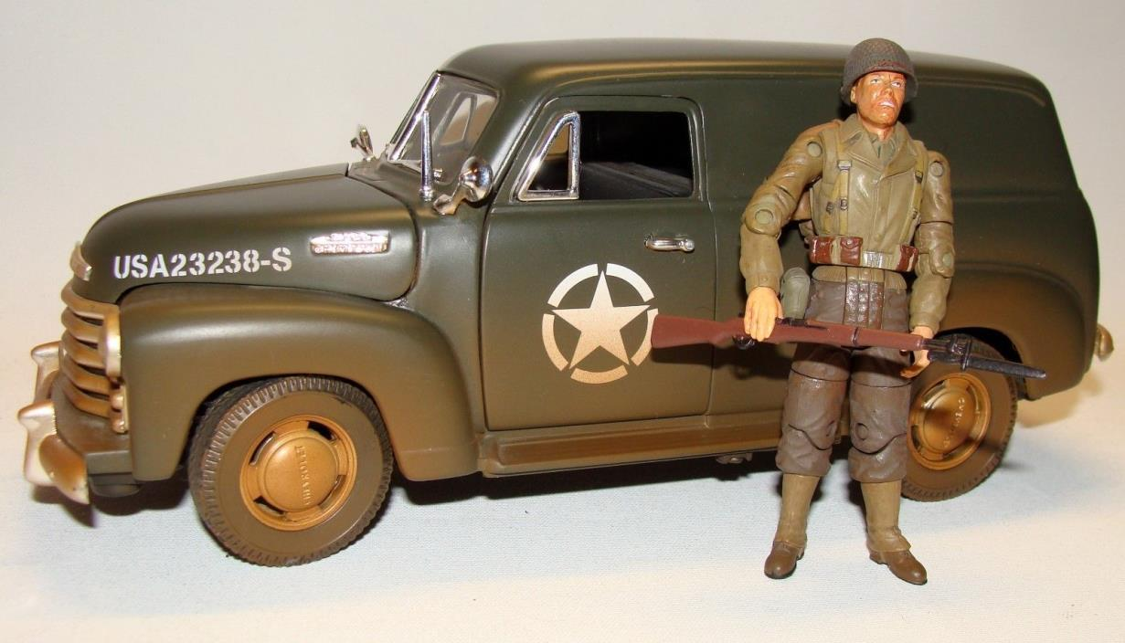 1:18 Solido WWII US Army Chevrolet Chevy Panel Truck 21st Century Figure Soldier