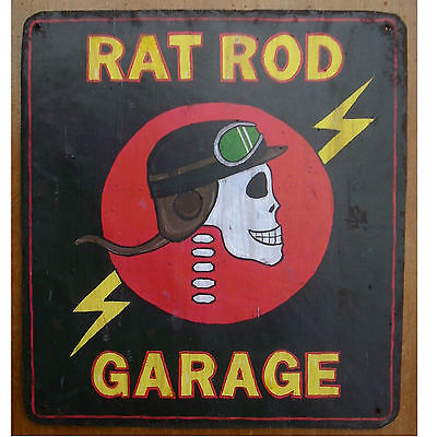 RAT ROD GARAGE, Metal Sign Hot Rod Original Design