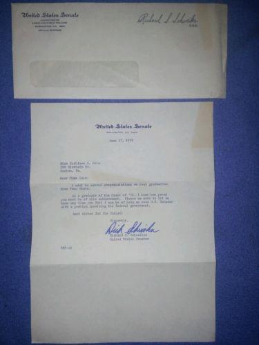 1974  PENN STATE GRAD Personalized& Signed Letter from SENATOR RICHARD SHWEIKER