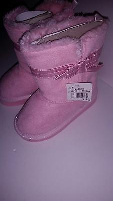 Girls Pink Boots Shoes Toddler Mid Calf Shoes Size 8