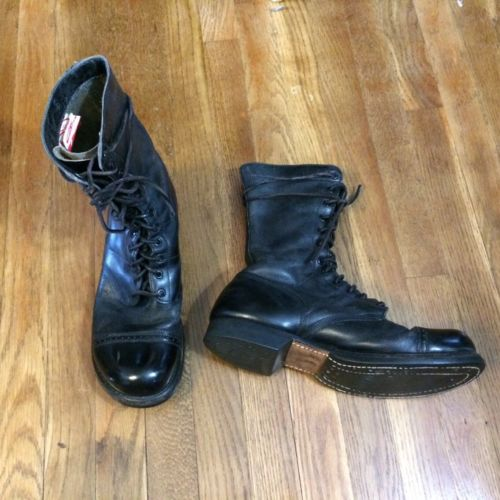 Vintage Old Corcoran Sz 10 1950s Jump Boots Combat Military Paratrooper WWII USA