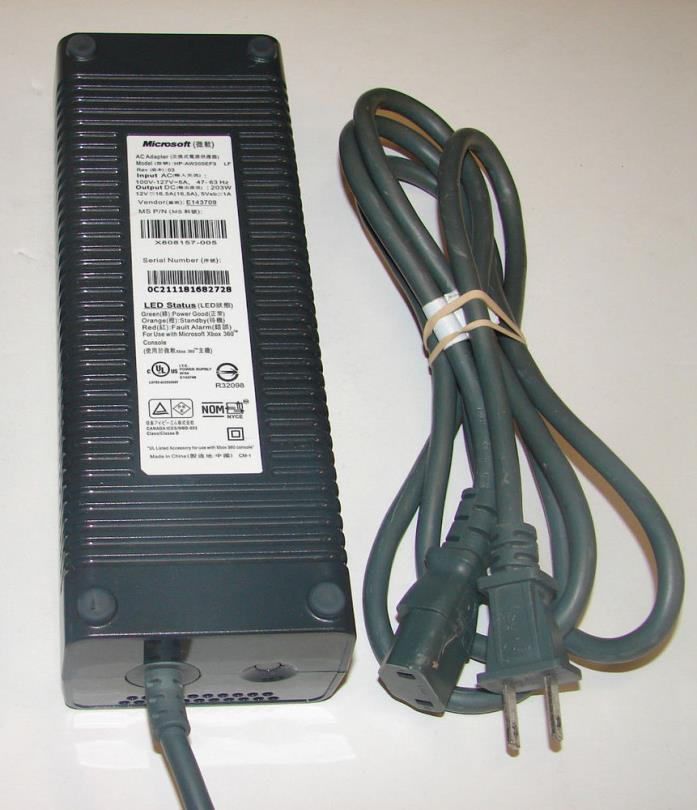 Official Microsoft XBOX 360 -203 Watt 203W Power Supply +Wall Cord