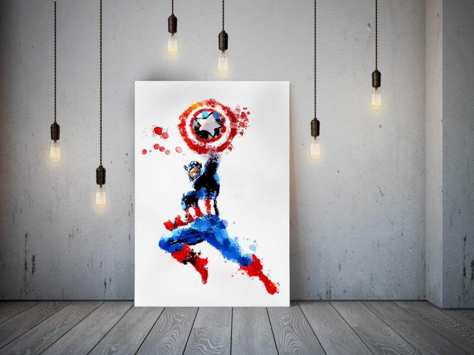 Captain America original painting big canvas marvel comics art