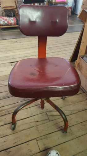 industrial era 1950 studio red leather mid century chair