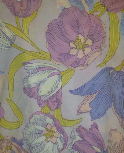 Vintage 60s 70s Queen Flat Sheet Purple Lavender Large Print Tulips Floral EUC