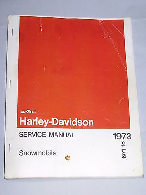 Harley Davidson Snowmobile Service Manual - 1971 to 1973  FREE SHIPPING