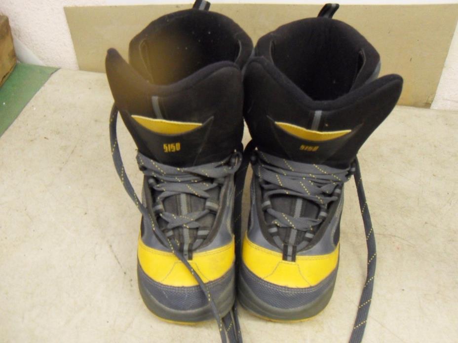 5150 Kids Crow Snowboard Boots Kids Size 4 (36 Eur) Grey W/ Yellow Trim