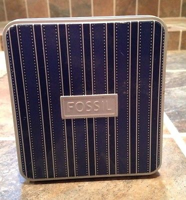 Set of 4 EMPTY FOSSIL BRAND WALLET SQUARE TIN GREAT SHAPE