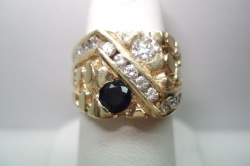 14 Kt Vintage Gold Nugget Style Sapphire Diamond Ring