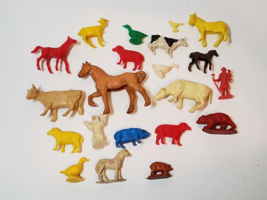 Vtg 60s 50s Toy Plastic Figures Playset Farm Zoo Animal Lot Auburn MPC Marx Lido
