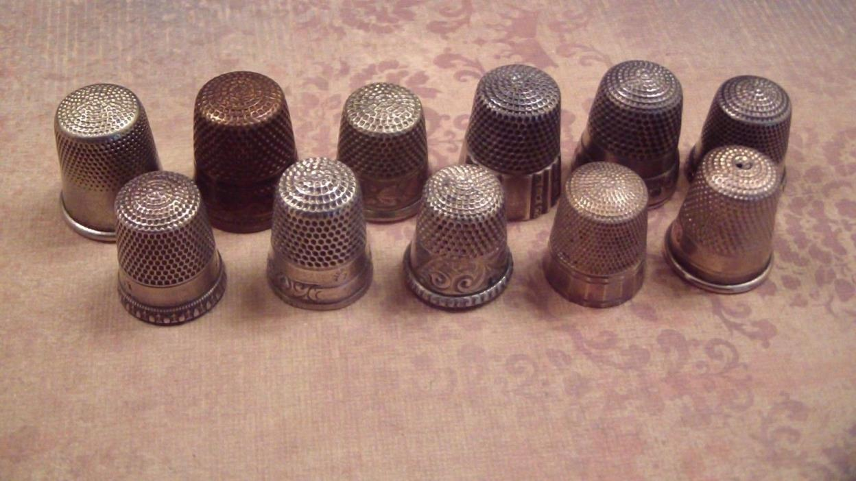 Vintage Sterling Thimble LOT