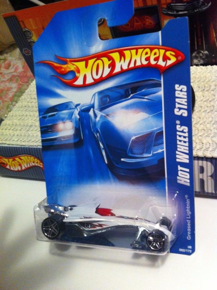 Hot Wheels GREASED LIGHTNING Drag Racing  2008 HW Stars #92 MOC Intl Card