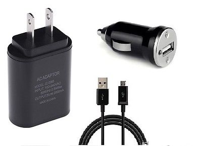 CAR+2 AMP WALL ADAPTER+5 FEET MICRO USB FOR STRAIGHT TALK SAMSUNG GALAXY SKY