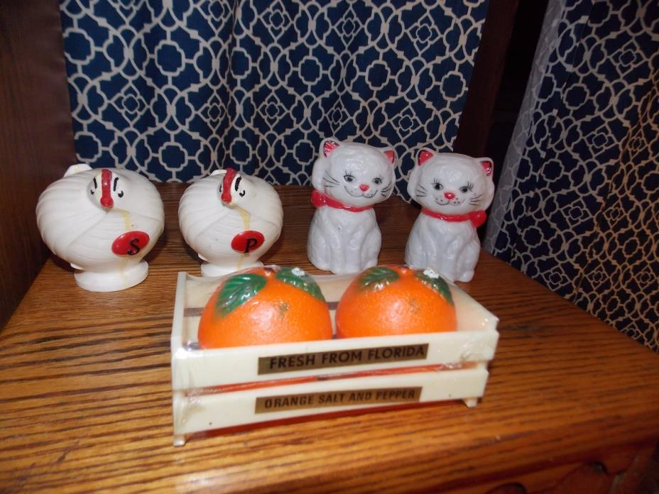 Hong Kong Salt Pepper Shakers Lot Plastic Cats Chickens Oranges Vintage