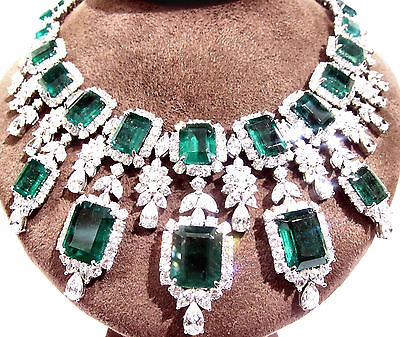 EMERALD AND DIAMOND NECKLACE ROUND 477 PEAR 61 MARQUISE DIAMOND CHOKER NECKLACE