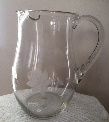 Clear Glass Etched Pitcher with Ice Lip