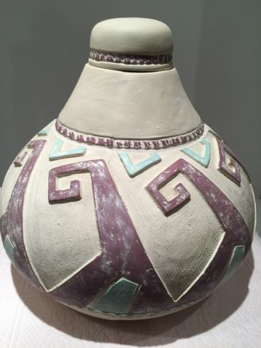 Exotic Large Hand Painted Pottery With Lid