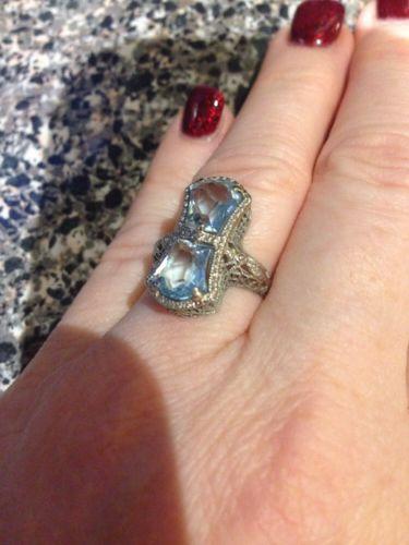 Antique White 18k Gold Blue Topaz Filigree Dragonfly Ring