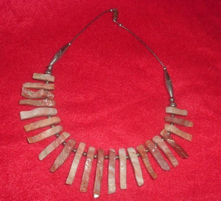 VINTAGE Spiny Oyster? Petal Beads & Sterling Stamped Bench Made Beads 15