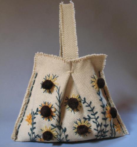 VTG 70s Sunflower Bag Purse Embroidered Floral Pom Pom Woven Burlap PRISTINE