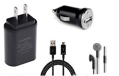 CAR+2 AMP WALL ADAPTER+5 FEET USB+HEADSET FOR STRAIGHT TALK SAMSUNG GALAXY LUNA