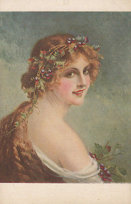 Lady Wearing A Wreath Of Grape Vines Antique Art Postcard