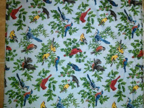 Vintage Cranston Prints Material Light Blue Background Colorful Birds & Leaves