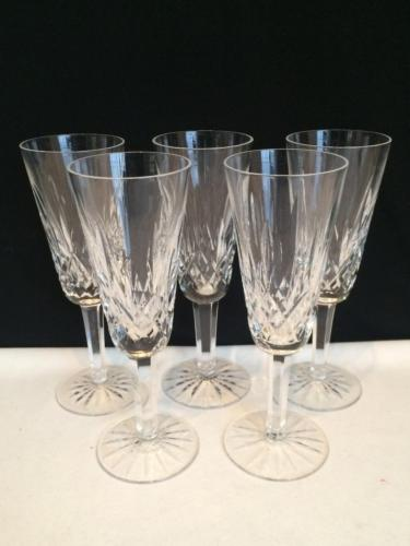 CR1343 WATERFORD LISMORE CRYSTAL SET OF 5 CHAMPAGNE FLUTES
