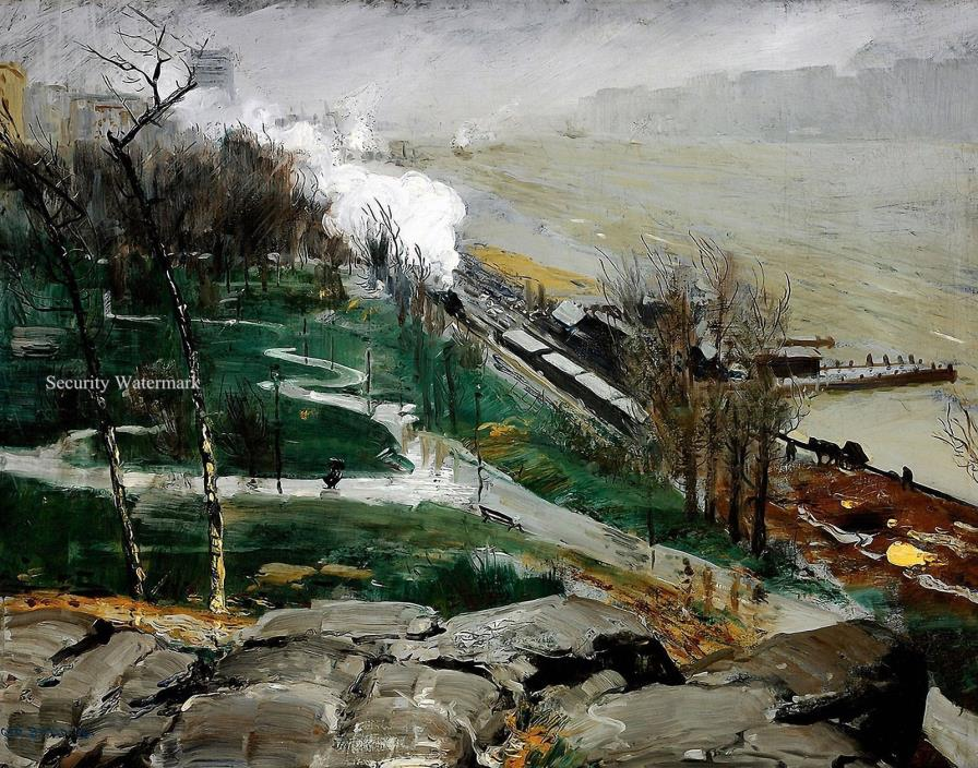 Rain on the River by American George Bellows. Fine Art Canvas Print. Size 11x14