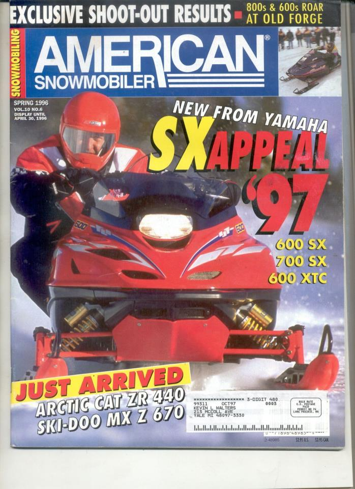 Vintage SNOWMOBILE MAGAZINE 1996 Yamaha Vmax SX XTC 600 700 Sno-Coupe Moto-Loo