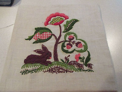 Vintage Finished Paragon Crewel Embroidery Linen - Jacobean Flower- Bunny