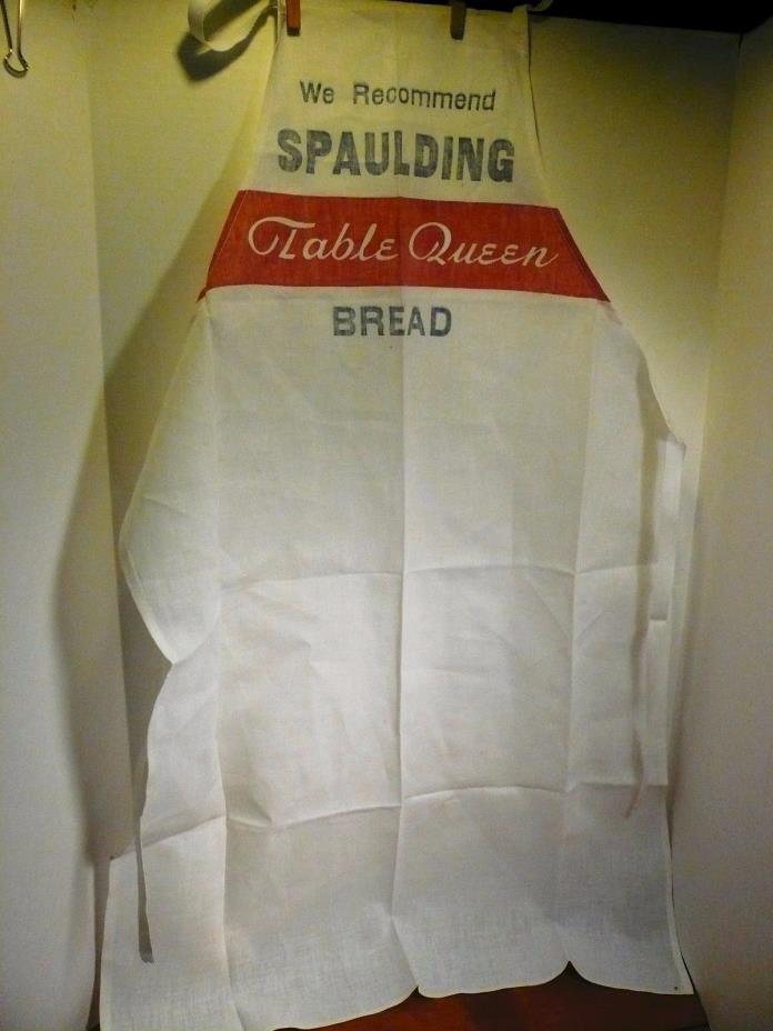 VINTAGE SPAULDING TABLE QUEEN BREAD ADVERTISING APRON FULL LENGTH